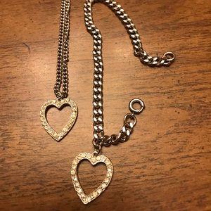Necklace and bracelet set- heart